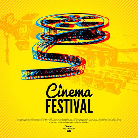 in action: Cine Movie fondo del cartel del festival Vector dibujado a mano con ilustraciones de dibujo