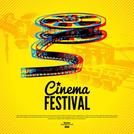 Movie cinema festival poster  Vector background with hand drawn sketch illustrations Ilustração