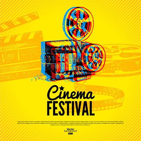 Movie cinema festival poster  Vector background with hand drawn sketch illustrations Vector