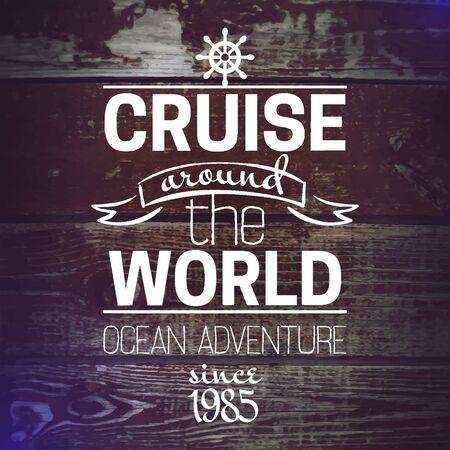 retro grunge: Travel grunge background  Sea nautical design  Hand drawn textured sketch vector  illustration  Typographic design