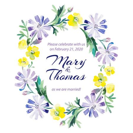 Sparen de datum liefde kaart met aquarel boeket bloemen bruiloft en Valentijnsdag vector illustratie