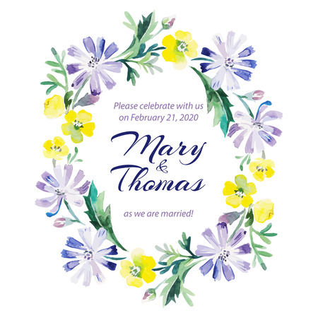 Save the date love card with watercolor floral bouquet  Wedding and Valentine's Day vector illustration Illustration