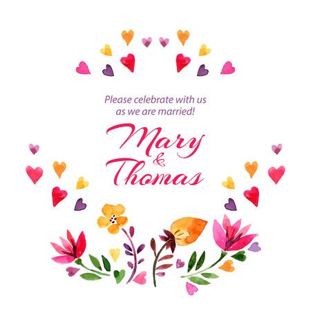 Salva la scheda amore appuntamento con acquerello bouquet floreale. Wedding Day e illustrazione vettoriale di San Valentino Archivio Fotografico - 30510230