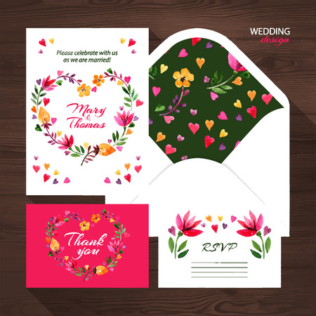 Vector wedding set with watercolor floral illustration. Wedding invitation, thank you card, envelope and RSVP card.  Vector