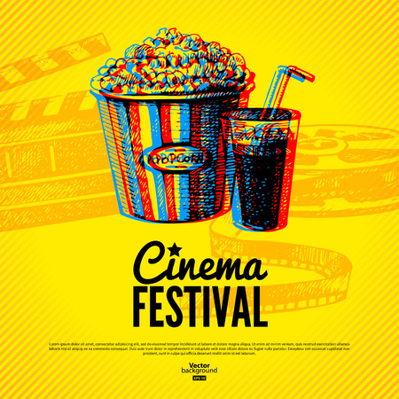 Movie cinema festival poster. Vector background with hand drawn sketch illustrations  Vector