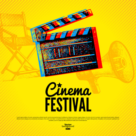 movie clapper: Movie cinema festival poster. Vector background with hand drawn sketch illustrations