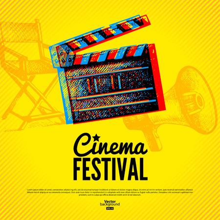 cinta pelicula: Pel�cula cine cartel del festival. Vector de fondo con ilustraciones dibujadas a mano boceto