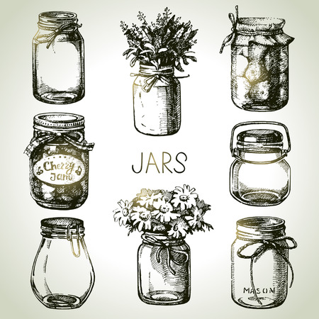 Rustic, mason and canning jars hand drawn set. Sketch design elements. Vector illustrations Vettoriali