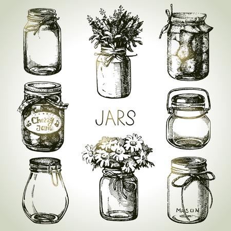 mermelada: , Dibujado a mano conjunto de albañil y frascos para conservas rústica. Elementos de diseño de croquis. Ilustraciones de vectores Vectores