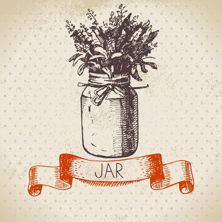 mason: Rustic jar with lavender bouquet. Vintage hand drawn sketch design. Vector illustration