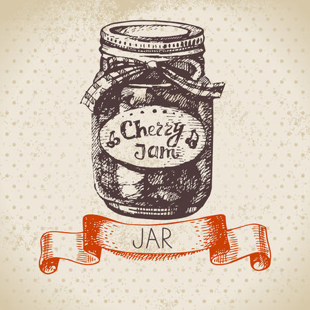 preserving: Rustic canning jar with cherry jam. Vintage hand drawn sketch design. Vector illustration