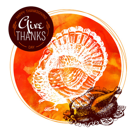 Thanksgiving Day background. Typographic poster. Hand drawn sketch and watercolor vector illustration Vector