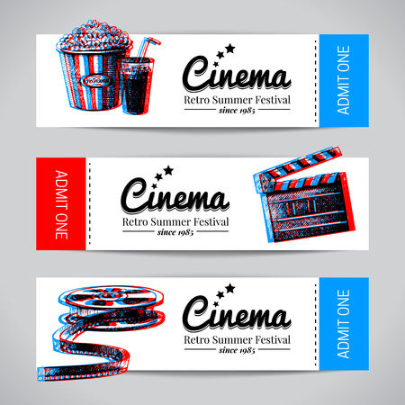 Set of movie banners. Cinema festival tickets with hand drawn sketch vector illustrations Vettoriali