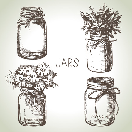 Rustic, mason and canning jars hand drawn set. Sketch design elements. Vector illustrations  イラスト・ベクター素材