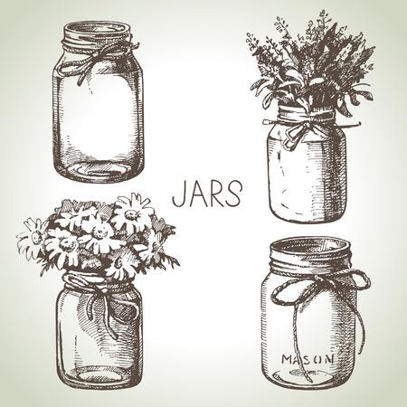 bocetos de personas: , Dibujado a mano conjunto de albañil y frascos para conservas rústica. Elementos de diseño de croquis. Ilustraciones de vectores Vectores