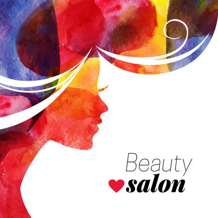 Waterolor beautiful girl. Vector illustration of woman beauty salon Vettoriali