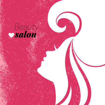 Beautiful woman silhouette. Beauty salon poster. Vector illustration Stok Fotoğraf - 30493219