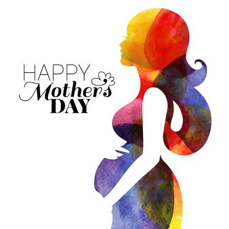 embarazada feliz: Waterolor hermosa mujer embarazada. Ilustración vectorial
