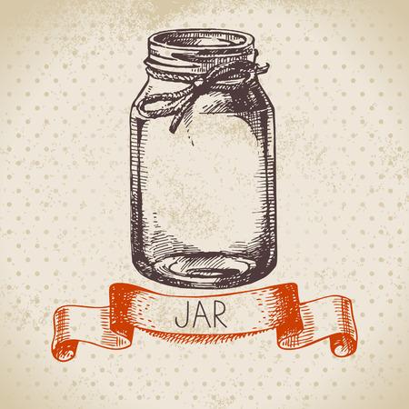 Rustic, mason and canning jar. Vintage hand drawn sketch design. Vector illustration
