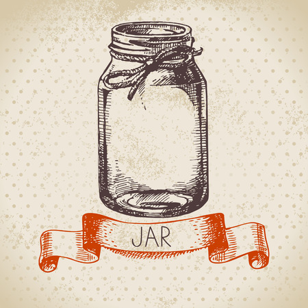 jars: Rustic, mason and canning jar. Vintage hand drawn sketch design. Vector illustration