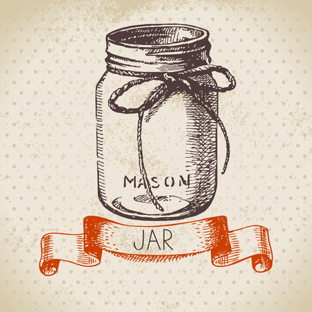 canning: Rustic, mason and canning jar. Vintage hand drawn sketch design. Vector illustration
