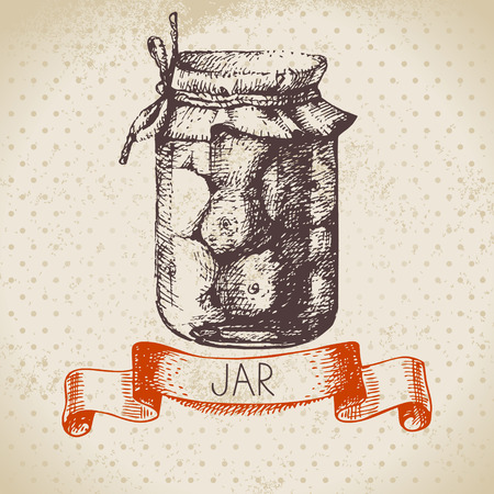 canning: Rustic canning jar with tomato. Vintage hand drawn sketch design. Vector illustration Illustration