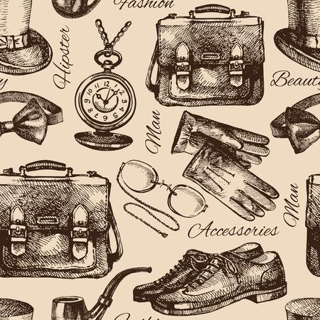 Schets heren accessoires. Hand getrokken hipster naadloos patroon. Vector illustratie