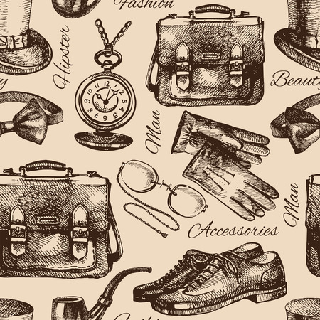 Sketch gentlemen accessories. Hand drawn hipster seamless pattern. Vector illustration