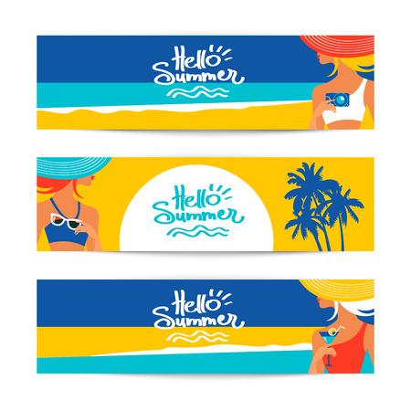 海辺で美人シルエットの夏バナーのセットです。ベクトル図