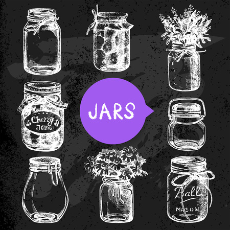 canning: Rustic, mason and canning jars hand drawn set. Sketch design elements. Vector illustrations. Blackboard design  Illustration