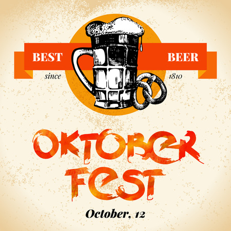 fest: Oktoberfest vintage background. Typographic poster. Hand drawn sketch and watercolor vector illustration
