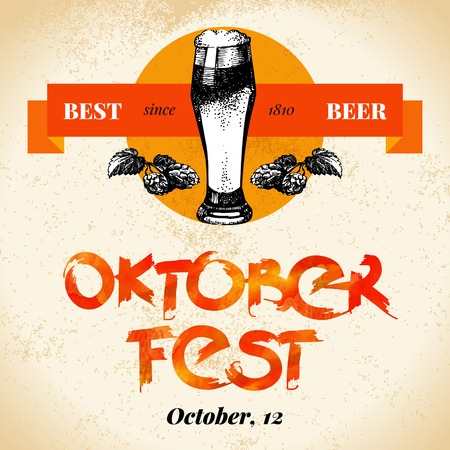 bier: Oktoberfest vintage background. Typographic poster. Hand drawn sketch and watercolor vector illustration