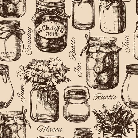 kitchen utensils: R�stico, alba�il y tarro de conservas. Vintage mano dibujado patr�n seamless. Ilustraci�n vectorial