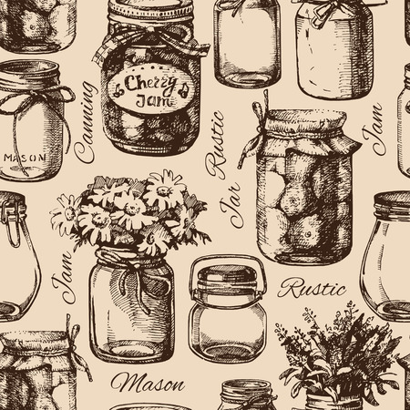 canning: Rustic, mason and canning jar. Vintage hand drawn sketch seamless pattern. Vector illustration