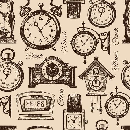 cuckoo clock: Hand drawn clocks and watches. Vintage hand drawn sketch seamless pattern. Vector illustration