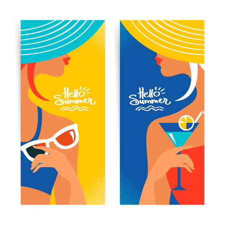 sexy girl bikini: Set of summer banners with beautiful women silhouettes. Vector illustration Illustration