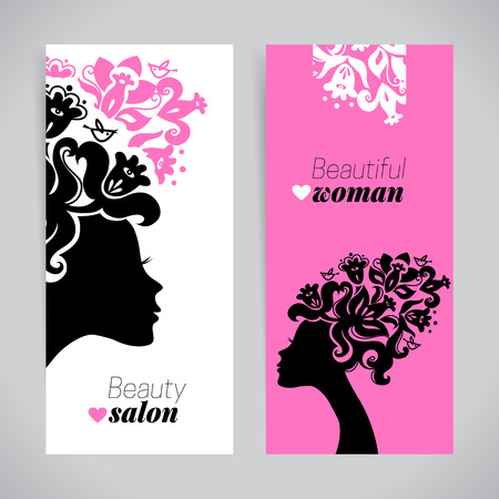 Banners of beautiful women silhouettes with flowers. Beauty salon design. Vector illustration Vettoriali