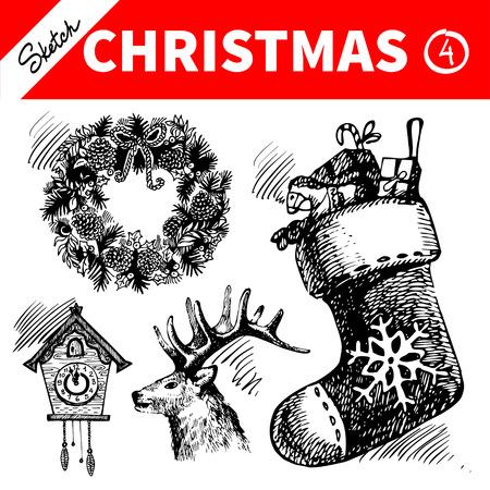 reloj cucu: Dibujado a mano boceto de invierno Conjunto de la Navidad. Ilustración vectorial