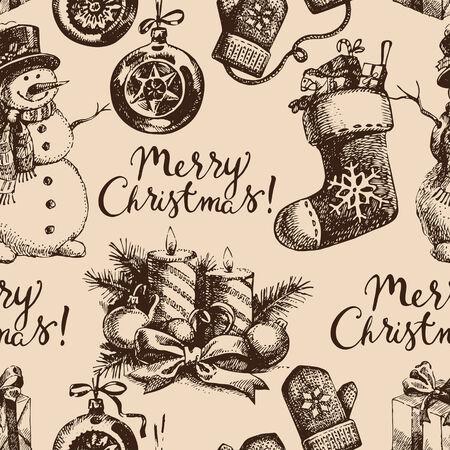 christmas seamless pattern: Christmas seamless pattern. Happy New Year hand drawn illustration. Vector design Illustration