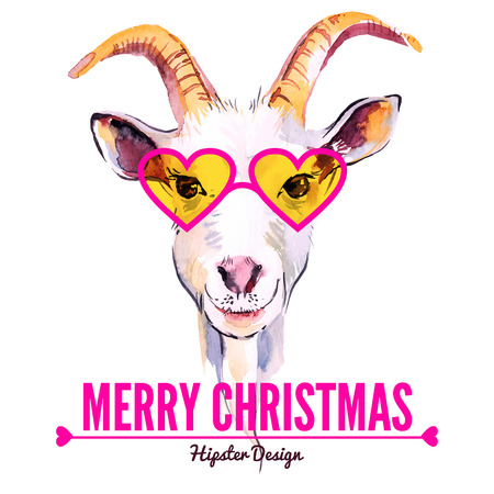 goat head: Merry Christmas card with watercolor portrait of hipster goat. Hand drawn vector illustration