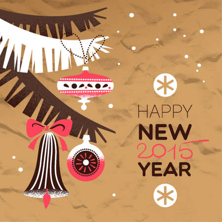 Vintage Christmas background. Happy New Year card. Vector illustration Vector