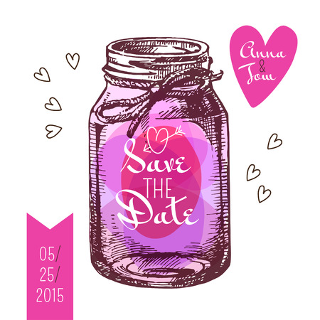 rustic: Save the date card. Wedding invitation. Rustic mason jar. Vintage hand drawn sketch design. Vector illustration