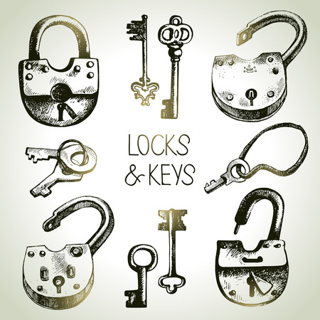 passkey: Hand drawn sketch locks and keys set. Vector illustration  Illustration