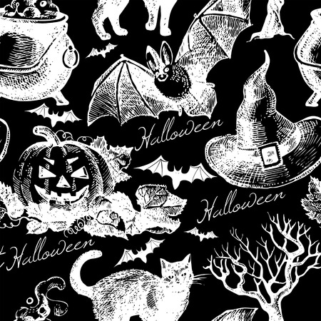 Sketch Halloween seamless pattern. Hand drawn vector illustration Vector