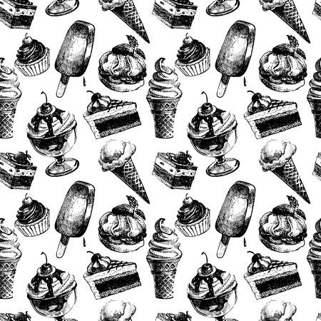 coppa di gelato: Seamless pattern con gelato e torte. Abbozzo disegnato a mano illustrazione vettoriale