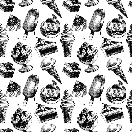 ice cream cup: Seamless pattern with ice cream and cakes. Hand drawn sketch vector illustration
