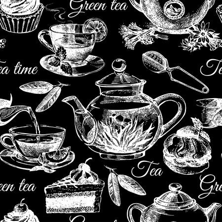 chamomile tea: Tea and cake seamless pattern. Hand drawn sketch vector illustration. Menu design Illustration