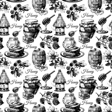 honey bee: Vector honey seamless pattern with hand drawn sketch illustration