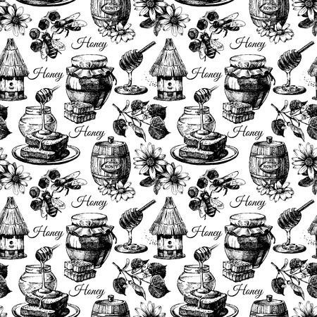 colmena: Vector sin patrón con miel dibujado a mano ilustración boceto Vectores
