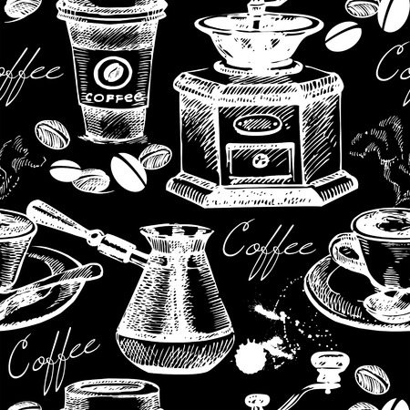 Vintage coffee seamless pattern. Hand drawn vector illustration Vector